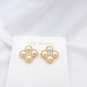 Tory Burch Rope Clover Pearl T logo stud Earrings